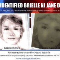 On June 15, 2008, #JaneDoe was struck by a New Jersey Transit train in Brielle, NJ. The female has straight brown hair and short fingern